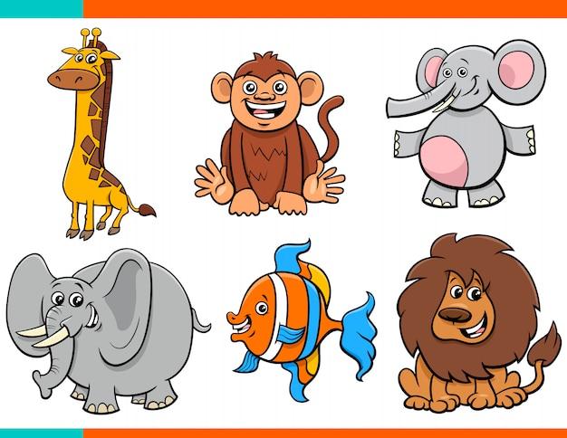 Set di personaggi animali divertenti dei cartoni animati