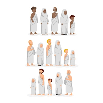 Set di personaggi che indossano abiti hajj di ihram musulmani di varie etnie