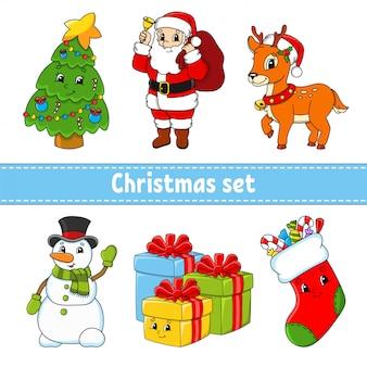 Set di personaggi dei cartoni animati. albero di natale, babbo natale, cervo, pupazzo di neve, scatole regalo, calza con dolci. felice anno nuovo e buon natale.