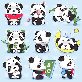 Set di personaggi dei cartoni animati carino panda kawaii. animale adorabile, felice e divertente che mangia anguria, autoadesivo isolato bambù, pacchetto delle toppe. emoji di sonno dell'orso di panda del bambino di anime su fondo blu
