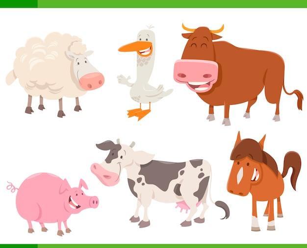 Set di personaggi dei cartoni animati degli animali della fattoria