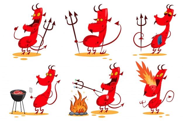 Set di personaggi dei cartoni animati del diavolo.