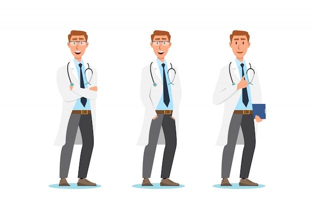 Set di personaggi dei cartoni animati del medico. concetto di squadra personale medico