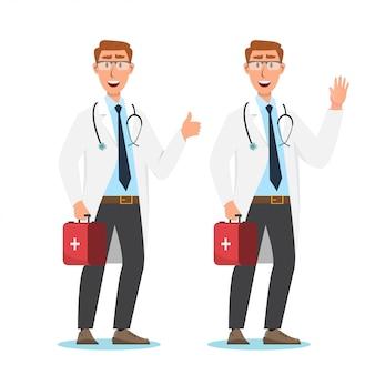 Set di personaggi dei cartoni animati del medico