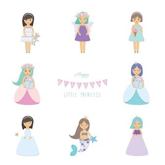Set di personaggi dei cartoni animati di angelo.