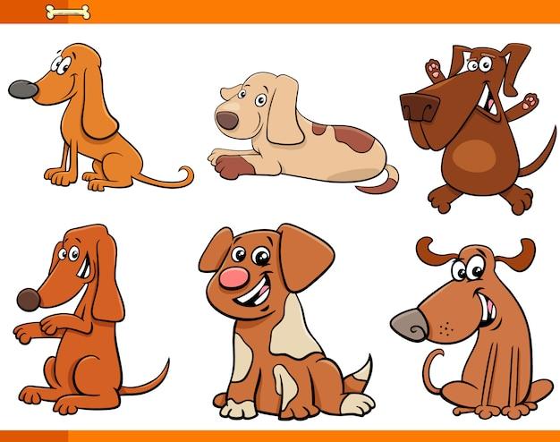 Set di personaggi dei cartoni animati di cani o cuccioli