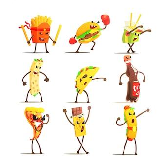 Set di personaggi dei cartoni animati di fast food