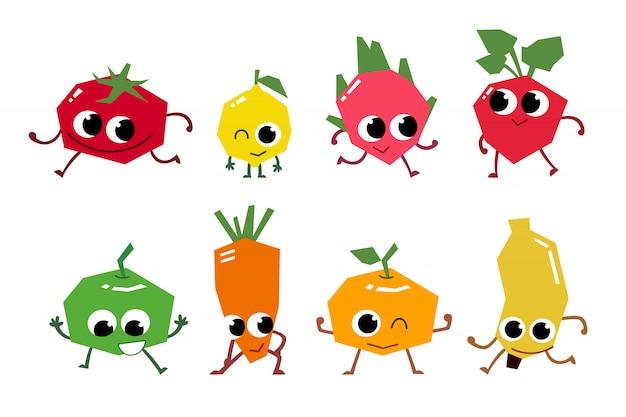 Set di personaggi dei cartoni animati di frutta.