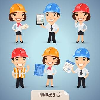 Set di personaggi dei cartoni animati di manager
