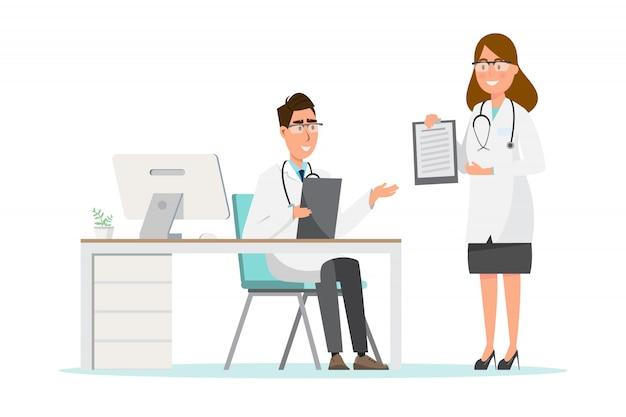 Set di personaggi dei cartoni animati di medico e infermiera. concetto del gruppo del personale medico in ospedale.