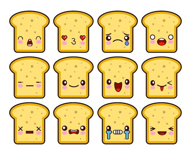 Set di personaggi dei cartoni animati di pane tostato kawaii fetta