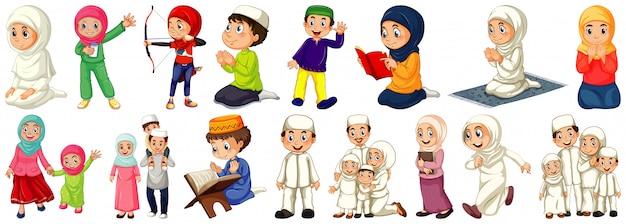 Set di personaggi dei cartoni animati di persone diverse su sfondo bianco