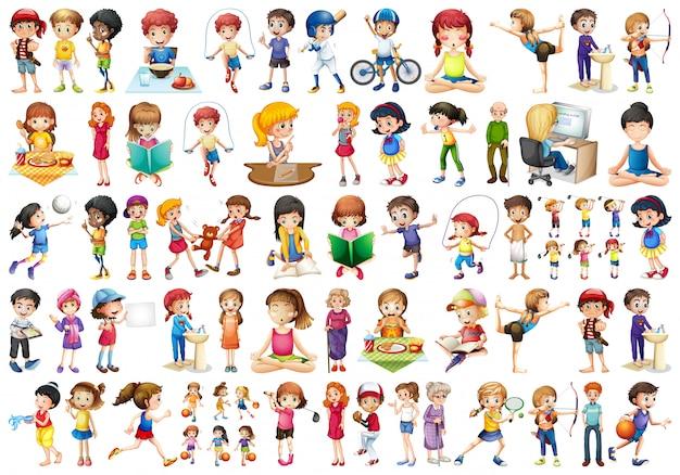 Set di personaggi dei cartoni animati di persone