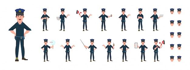 Set di personaggi dei cartoni animati di poliziotto