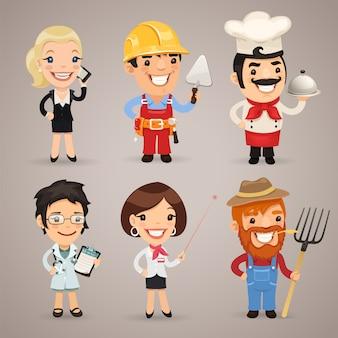 Set di personaggi dei cartoni animati di professioni
