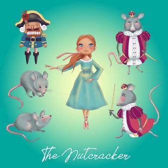Set di personaggi dei cartoni animati di storia di natale schiaccianoci