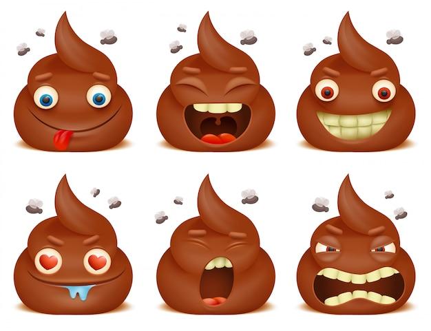 Set di personaggi dei cartoni animati divertenti cacca emoticon.