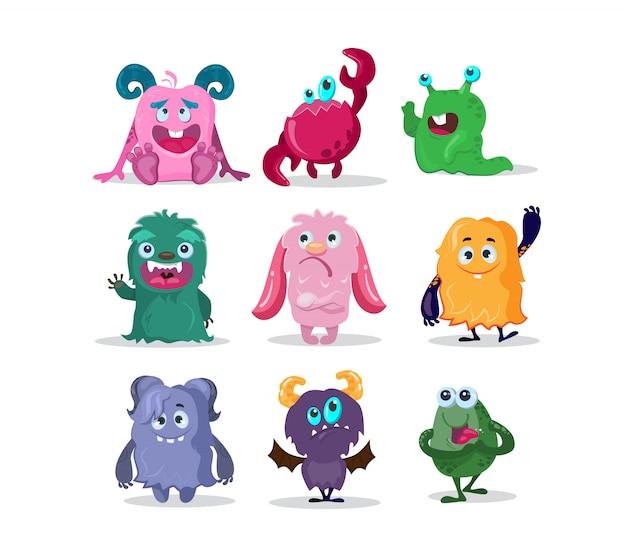 Set di personaggi dei cartoni animati divertenti mostri