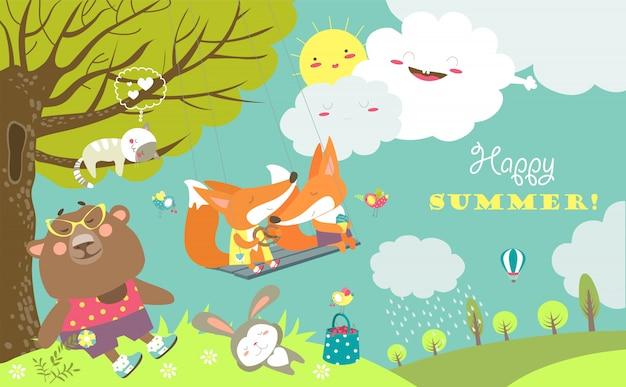 Set di personaggi dei cartoni animati ed elementi estivi