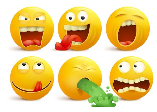 Set di personaggi dei cartoni animati emoticon giallo faccina sorridente.