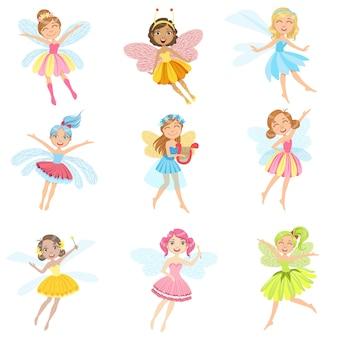 Set di personaggi dei cartoni animati girly carino in graziosi abiti
