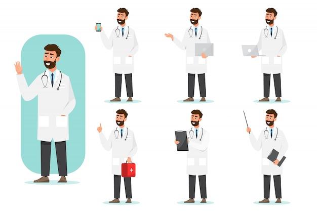 Set di personaggi dei cartoni animati medico. team di personale medico in ospedale.