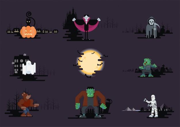 Set di personaggi dei cartoni animati piatti di halloween
