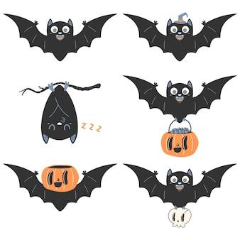 Set di personaggi dei cartoni animati pipistrello carino.