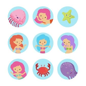 Set di personaggi dei cartoni animati sealife