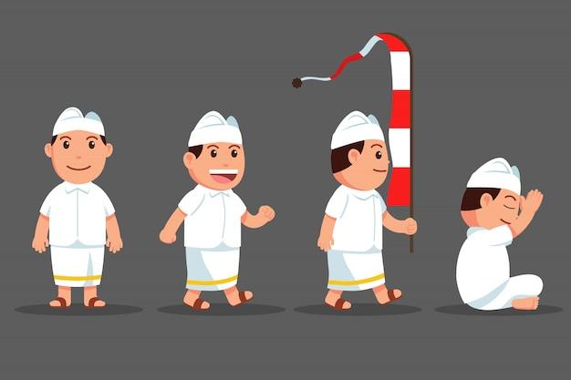 Set di personaggi dei cartoni animati svegli del ragazzo di bali