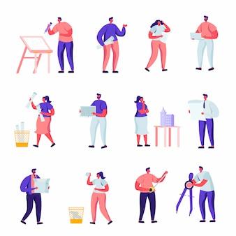 Set di personaggi dei lavoratori di edificio piatto, progettazione e ingegneria