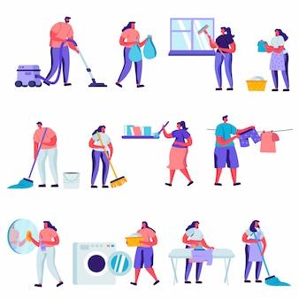 Set di personaggi dei lavoratori di servizio di pulizia e riparazione piatti