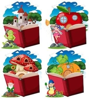 Set di personaggi di fantasia con pop-up in stile cartone animato libro su bianco