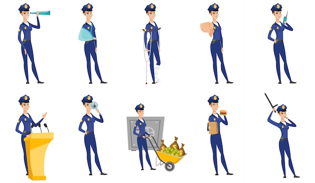 Set di personaggi di polizia donna.