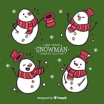 Set di personaggi di pupazzi di neve