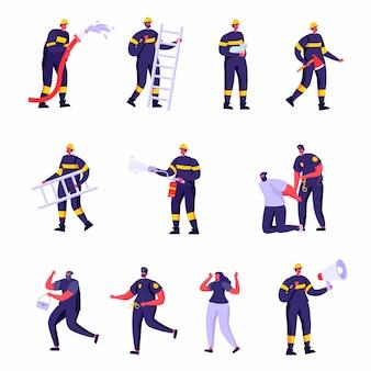 Set di personaggi di vigili del fuoco piatto, poliziotti e vittime