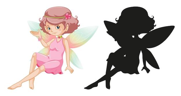 Set di personaggi fatati e la sua silhouette su sfondo bianco