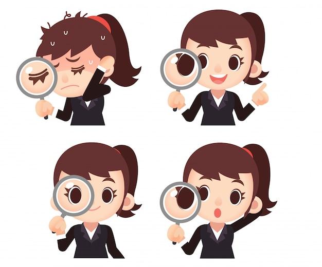 Set di personaggi femminili donna d'affari