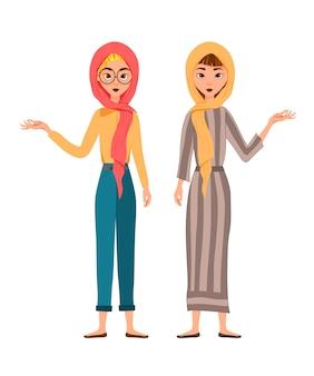 Set di personaggi femminili. le ragazze indicano la mano destra sul lato.