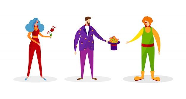 Set di personaggi in costumi artistici per spettacolo.