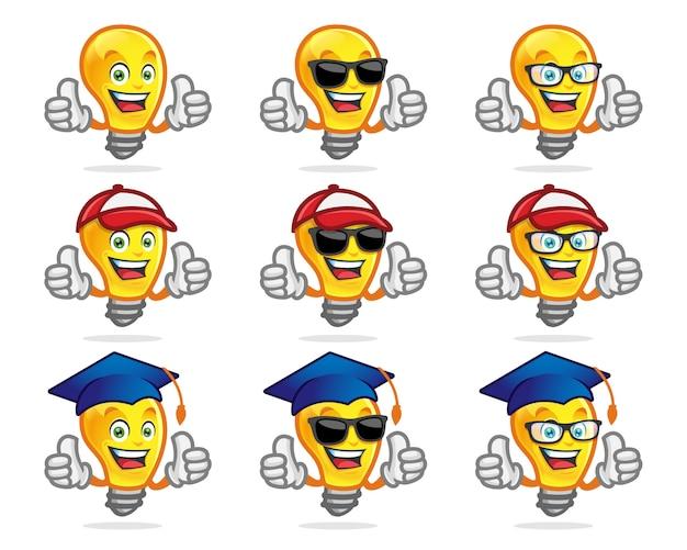 Set di personaggi lampadina, mascotte. perfetto per la scuola o un altro logo educativo. mascotte lampada.
