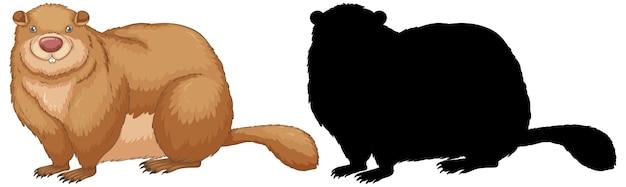 Set di personaggi marmotta e la sua silhouette