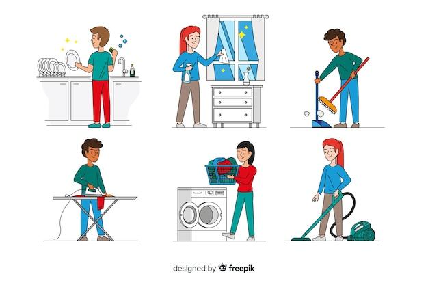 Set di personaggi minimalisti che fanno i lavori domestici