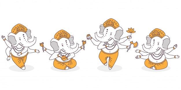 Set di personaggi simpatici dei cartoni animati di lord ganesha. dio indù con la mano dell'elefante nella posa del loto e di ballo isolata su fondo bianco.