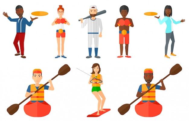 Set di personaggi sportivi.