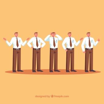 Set di personaggi venditore con design piatto