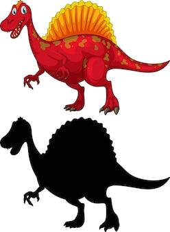 Set di personaggio dei cartoni animati di dinosauro e la sua silhouette su sfondo bianco