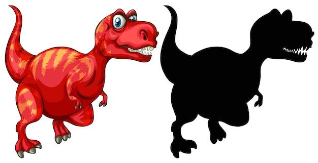 Set di personaggio dei cartoni animati di dinosauro e la sua silhouette