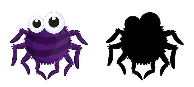 Set di personaggio dei cartoni animati di insetti e la sua silhouette