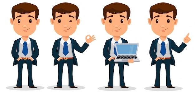 Set di personaggio dei cartoni animati di uomo d'affari